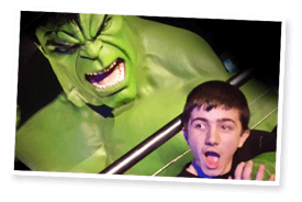 Jane's son meeting The Hulk at Madame Tussauds